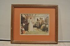 Beautiful Wood Vintage Picture Frame with Print of a Bride Getting Ready Wedding