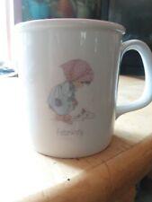 "Precious Moments Coffee Mug Tea Cup ""February"" 1987 Enesco Samuel J Butcher pink"
