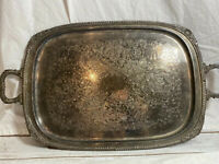 Vintage Silverplate Large Footed Butler Tray Ornate Server Handles