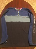 Vintage Tommy Hilfiger 1/4 Zip Tommy Jeans Spell Out Pullover Shirt MENS XL