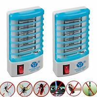 2x Indoor LED Electric Mosquito Fly Bug Insect Trap Zapper Killer Night Lamp
