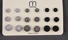 9 pair faux druzy ball stud post earrings pack silver grey black drusy round