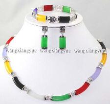 Multicolor Jade Link Necklace Bracelet earrings Set AAA Top Grade
