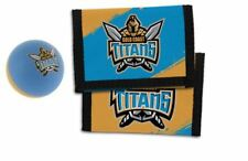 Set Of 2 Gold Coast Titans Nrl Team Logo Kids Nylon Wallet & Bounce Ball