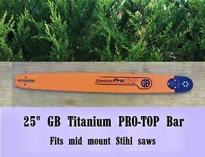 "25"" GB Titanium Chainsaw Bar 2 Full Chisel Chain Pack Combo 404 063 Fit STIHL"