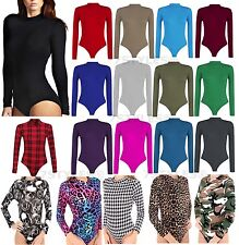 POLO NECK BODYSUIT LONG SLEEVE PLAIN TURTLE NECK LEOTARD STRETCH TOP WOMENS 8-14