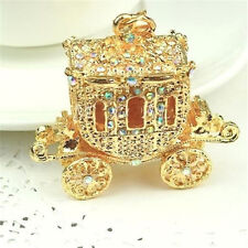 FD2750 Crystal Wedding Royal Carriage Keyring Charm Pendant Purse Bag Key Chain☆