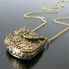 Vintage Retro Bag Shape Carved Bronze Locket Pendant Long Chain Sweater Necklace