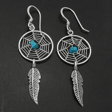 Sterling Silver Turquoise Dream Catcher Dangling Feather Earrings 35mm