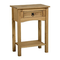 Corona 1 Drawer Console Table With Shelf Distressed Waxed Pine