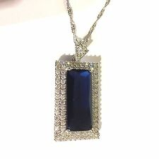 P170 Blue Sapphire + Sim Diamond White Gold Filled Pendant & Chain BOXED Plum UK