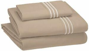 PREMIUM SHEET SET EMBROIDERED HOTEL STITCH SOFT EASY WASH MICROFIBER QUEEN COLOR