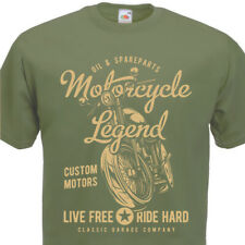 T-shirt Motorcycle Legend Mens Biker top motorbike Custom Motors Motard Moto 60'