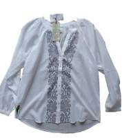 EAST white embroidered 100% cotton shirt blouse / top NEW 8-18 kaftan designer