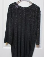 LADIES BLACK PATTERNED LONG SLEEVED TOP SIZE XL