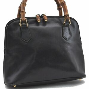 Authentic GUCCI Bamboo Hand Bag Leather Black E0702