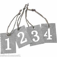 Zink Zahlen 1 2 3 4 Advent Nummern Weihnachten Anhänger Metall shabby chic 590