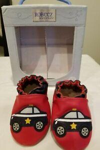 Robeez Soft Sole Leather Boys Police Car Shoes SZ 0-6,6-12, 2-18,4-5yrs & 5/6 y