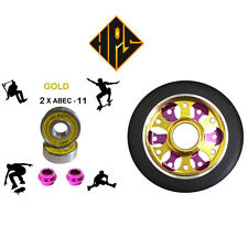 1X PRO STUNT SCOOTER GOLD DRILLED METAL CORE WHEEL 100mm ABEC 9 BEARINGS 11