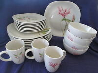 Thomson Pottery MAGNOLIA Salad OR Dinner Plate, Bowl, Mug (Square, Pink Flower)