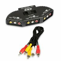 3 Way Audio Video RCA Switch Selector Splitter Box AV Patch Cable