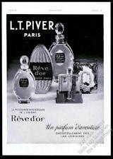 1933 L.T. Piver Reve d'Or pefume bottle photo big French vintage print ad