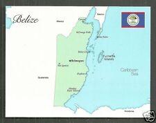 Map postcard Belize Turneffe Islands Flag