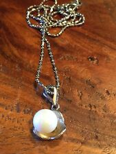Pearl imitation silver necklace