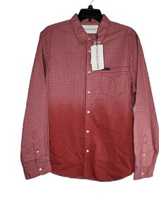 Calvin Klein Mens Plaid Long Sleeve Maroon Button Front Dress Shirt Sz Multiple