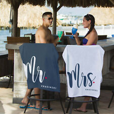 Personalised Mr and Mrs Beach Towels Set | Just Married | Honeymoon | His & Hers