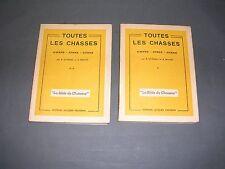 """Chasse Toutes les chasses Gibiers armes chiens """"la bible du chasseur"""" 2 vol.1947"""