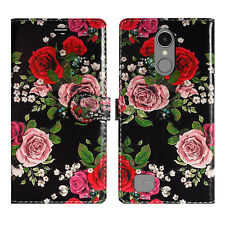 Leather Wallet Protect Book Magnet Stand Phone Case Cover for LUMIA 435 535 735 Nokia 3 Roses Blossom on Black - Large Petals Flowers Flor