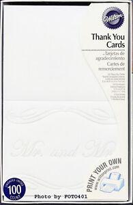 "200 Wilton White Wedding Thank You Cards Mr & Mrs ""LOVING BEGINNINGS""  Printable"