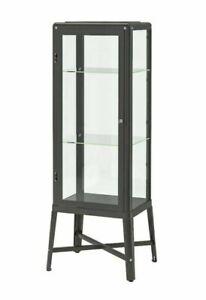 IKEA FABRIKÖR Glass-door cabinet, dark gray22 1/2x59