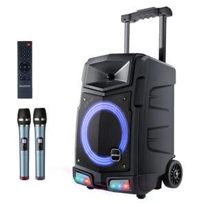 Mobile PA Anlage Karaoke Lautsprecher Akku Box Mikrofon USB AUX Bluetooth 500W