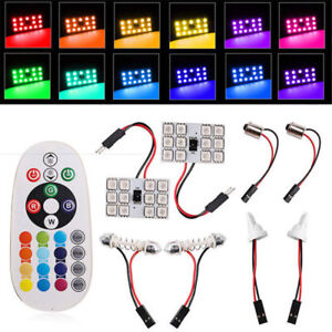 2x T10 5050 12 SMD RGB LED car roof light reading bulb light remote control