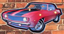 Insegna Metallo Vintage Luminosa Camaro Rosso - 46 X 23 CM