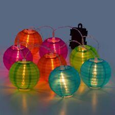 Set 8 Farolillos Plegables de nailon con Luz LED cálida,botón on/off,iluminación