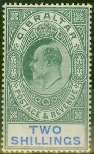 Gibraltar 1903 2s Green & Blue SG52 Fine & Fresh Mtd Mint (2)