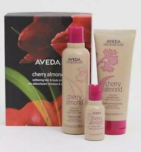 AVEDA Cherry Almond Softening Hair & Body Trio Shampoo, Conditioner, Lotion NEW