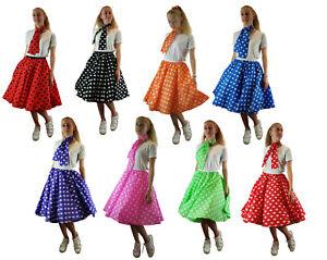 Polka Dot Rock n Roll Skirt & Scarf Fancy Dress 50'S Jive Ladies Longer length