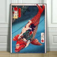 "Japanese SAITO - Oniwakamaru on a Carp - CANVAS ART PRINT POSTER - Fish - 18x12"""