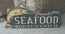 FISH Seafood Wall SIGN*Primitive/French Country/Lake House/Sea Fisherman Decor