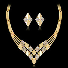 Fashion Women Bridal Wedding Party Prom Crystal Necklace Earrings Jewelry Set 04