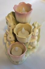 """Lenox Spring Easter 3 Bunnies & 3 Candle Holder Tulips, Porcelain 5.5""""Tall"""