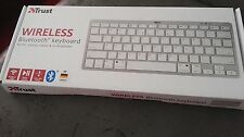 Trust Wireless flache Funktastatur, Keyboard, QWERTY Layout, Weiß Silber  NEU
