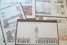 19th Century Architectural Drawings - Town House & Law Courts Cardiff Wales UK
