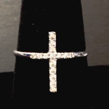 14k solid white gold Diamond cross ring 15 stones 0.14 carats