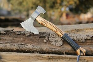 Damascus Steel Tomahawk Axe with leather strap handle |True Knife