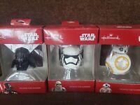3 Star Wars Storm Trooper Christmas Tree Ornament Darth Vader Helmet Hallmark